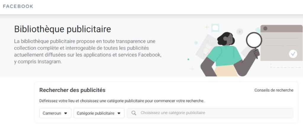 Bibliothèque publicitaire faceboook