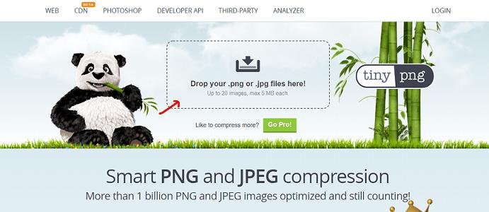 TinyPNG logiciel en ligne pour réduire le poids d'une image