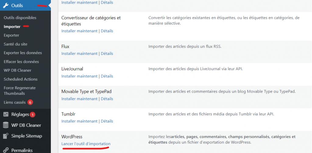 Outil d'importation de contenu de wordpress pour Weebly
