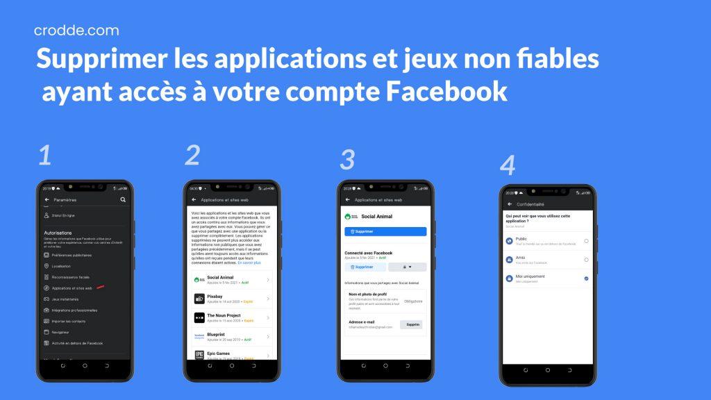 Supprimer les applications et jeux non fiables ayant accès à votre compte Facebook