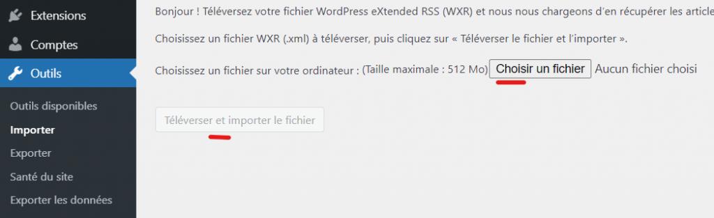 importer le fichier d'exportation du contenu Weebly