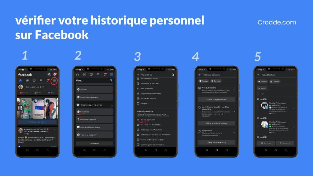 les étapes pour Vérifier votre historique personnel sur facebook