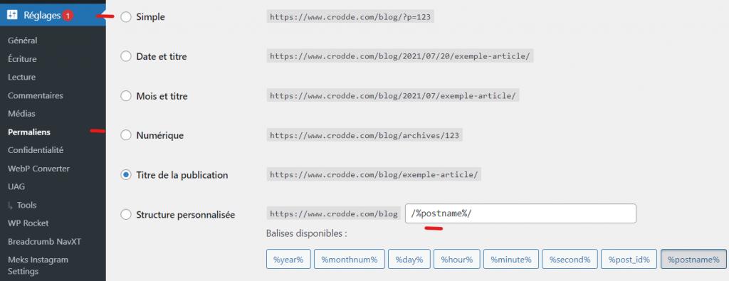 Configuration des permaliens de wordpress