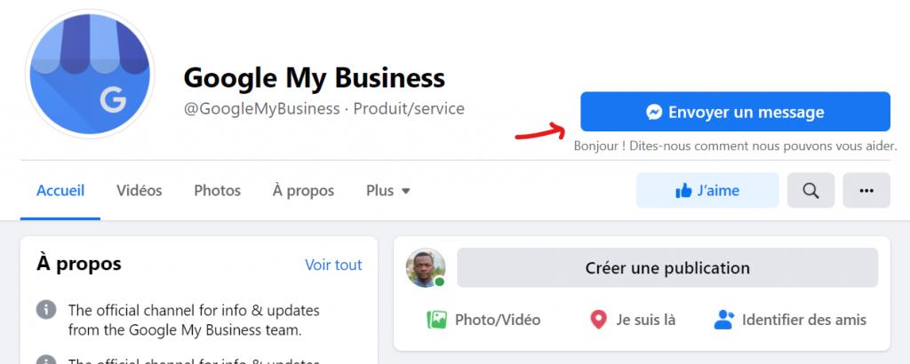 Contacter Google My Business sur facebook
