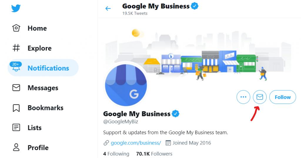 contacter google my business sur twitter