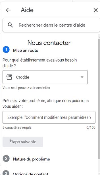 formulaire de contact google my business par mail