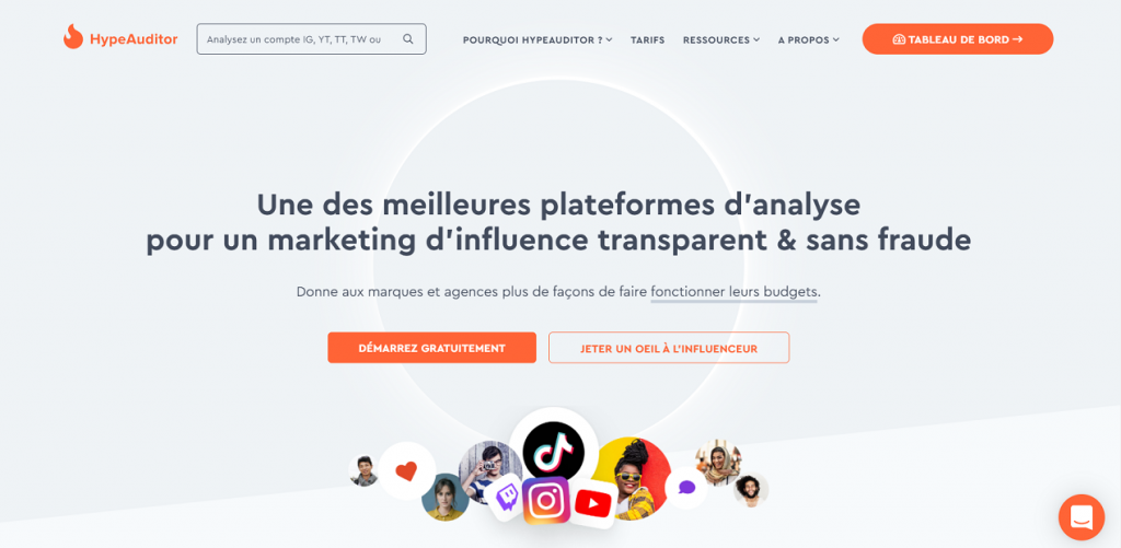 HypeAuditor plateforme d'analyse et marketing d'influence